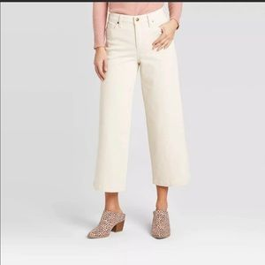High Rise Wide Leg Cropped Jeans Ivory Soft Stretch Size 12